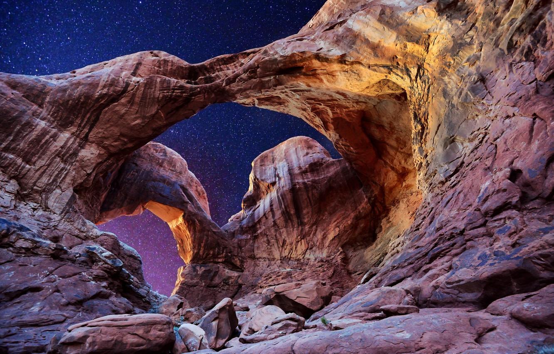 Wallpaper The Sky Stars Arch Utah Usa Utah Arches