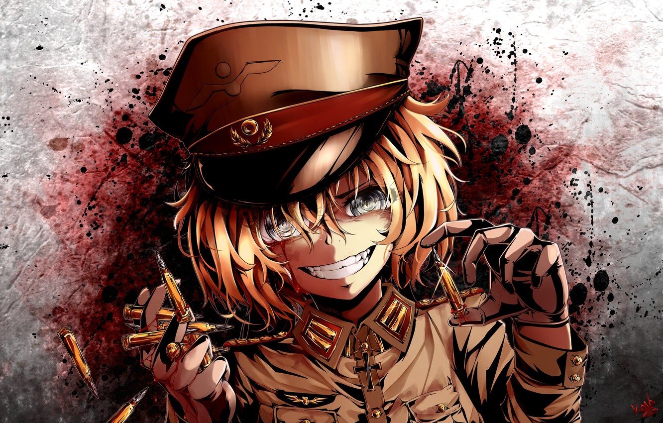 Wallpaper Girl Blood Soldier Military War Anime Face Blonde