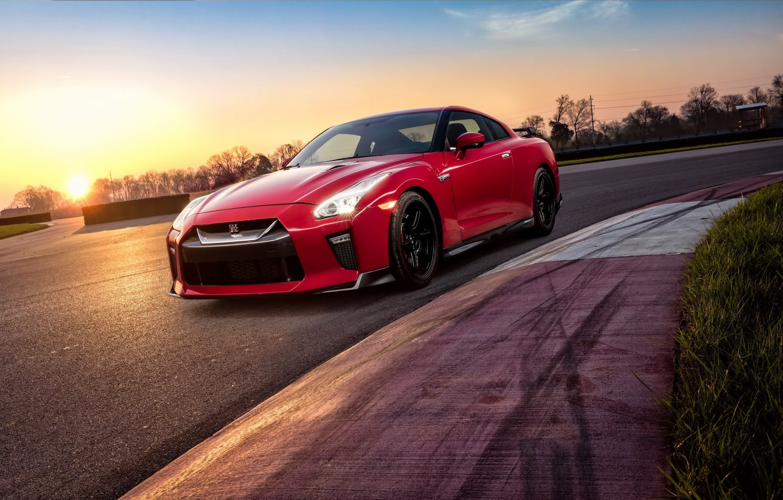 Photo wallpaper sunset, GTR, supercar, Nissan, GT-R, Track Edition, 2017