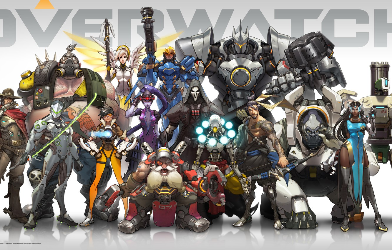 Photo wallpaper Game, Blizzard Entertainment, Reaper, Hanzo, Mei, Bastion, Overwatch, Tracer, Widowmaker, Mercy, McCree, Pharah, Reinhardt, In …