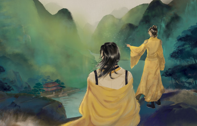 Photo wallpaper girl, landscape, mountains, house, river, male