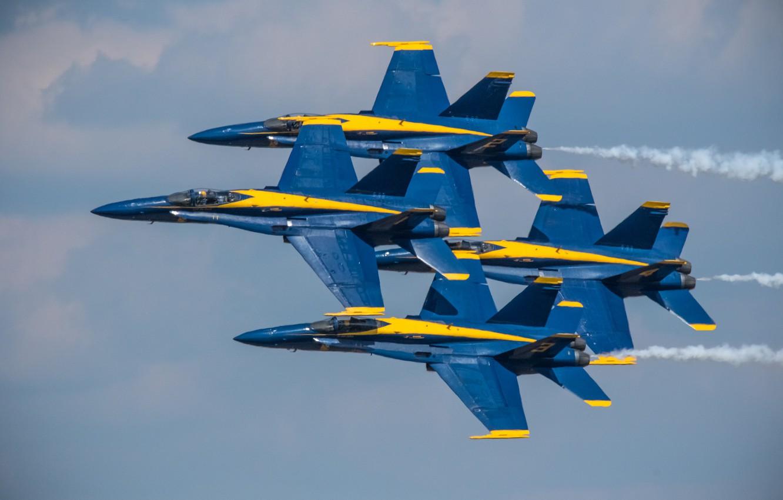 Photo wallpaper flight, the plane, fighter, Quartet, Blue Angels, F/A-18 Hornet