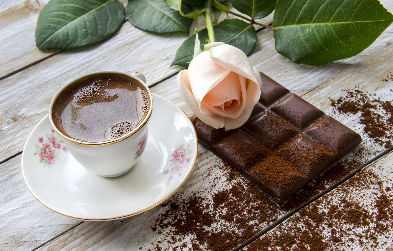 Photo wallpaper flowers, coffee, chocolate, roses