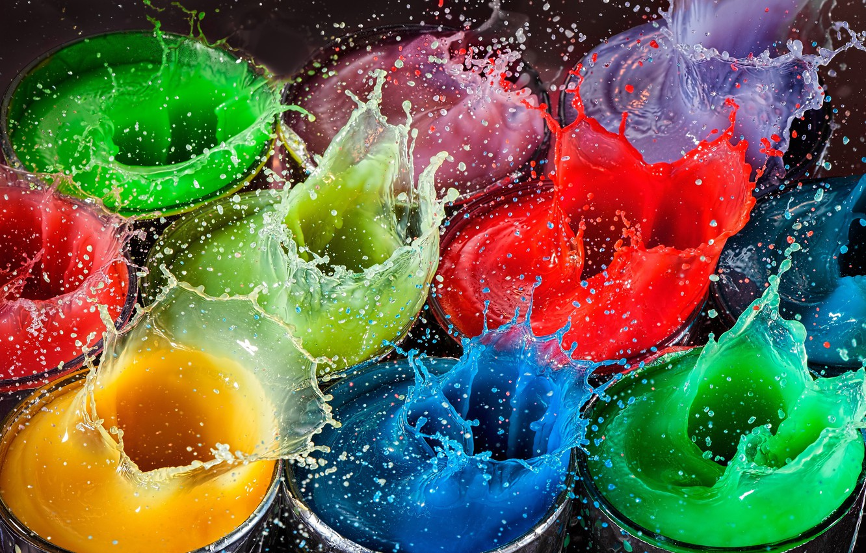 Photo wallpaper squirt, paint, splash, High speed photography
