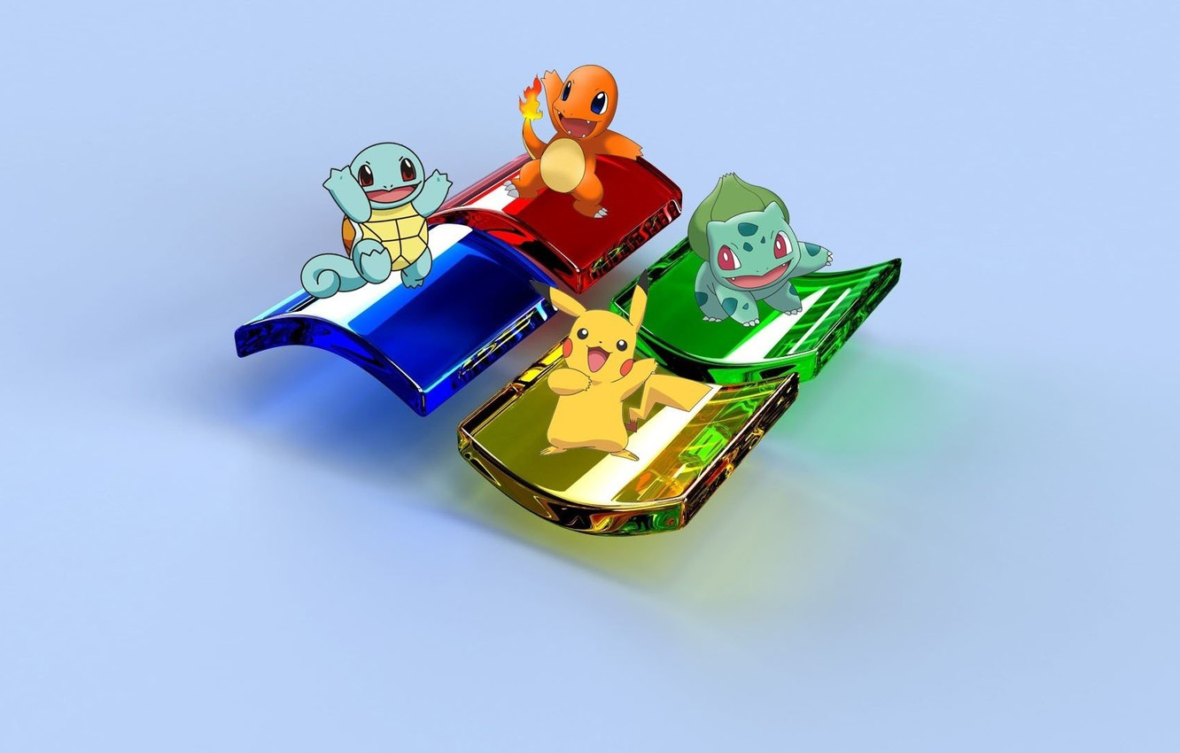 Photo wallpaper blue, yellow, red, green, Windows, green, red, yellow, blue, Pikachu, Pikachu, Operating system, Charmander, Squirtle, …