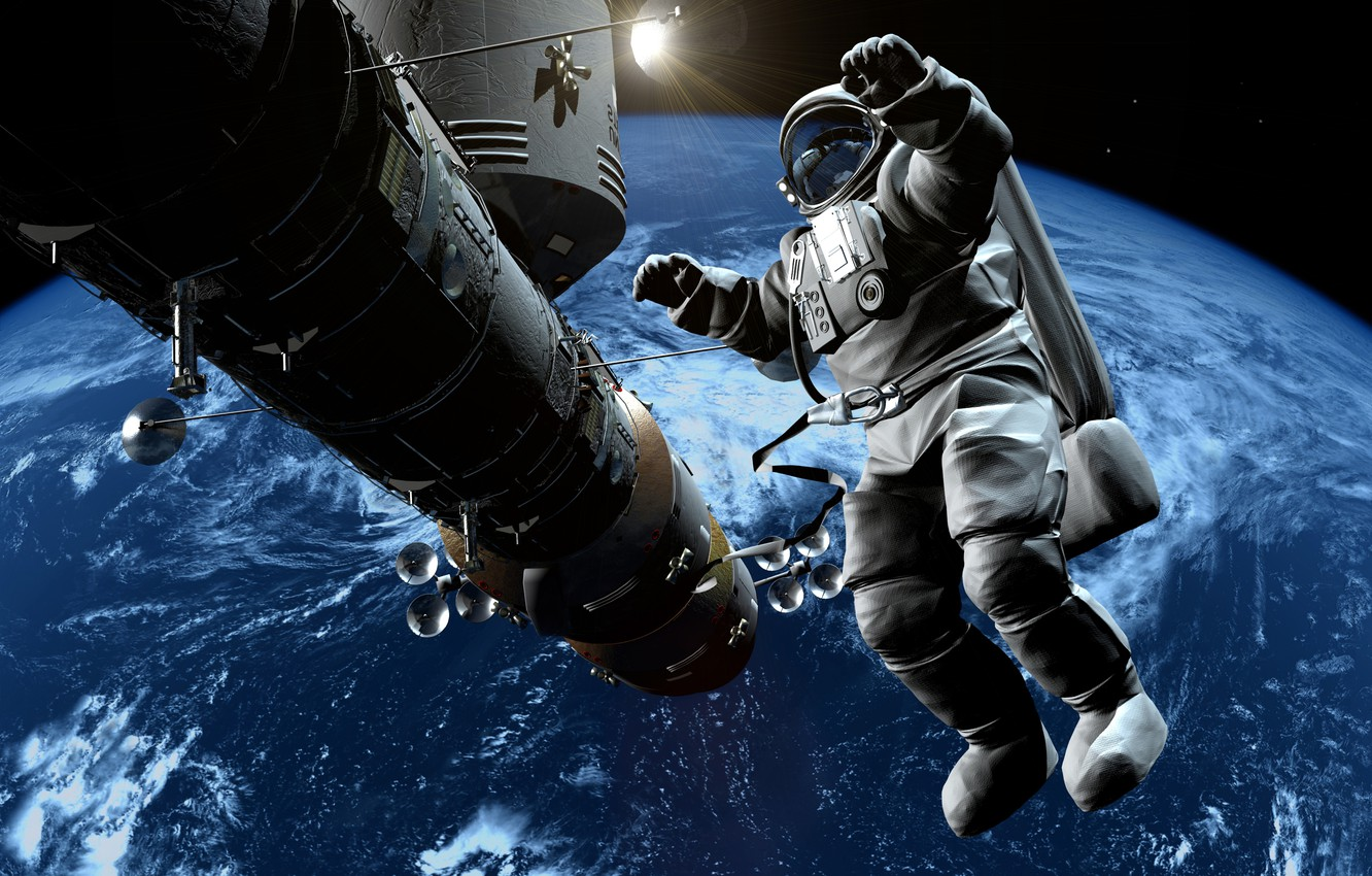 Photo wallpaper space, astronaut, the atmosphere, art, Earth, gravity, beautiful, infinity, weightlessness, bokeh, space station, astronaut, wallpaper., …