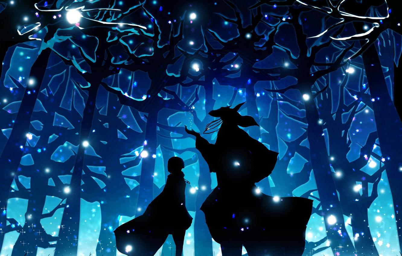 Wallpaper Forest Girl Night Anime Art Fascinator Mahou