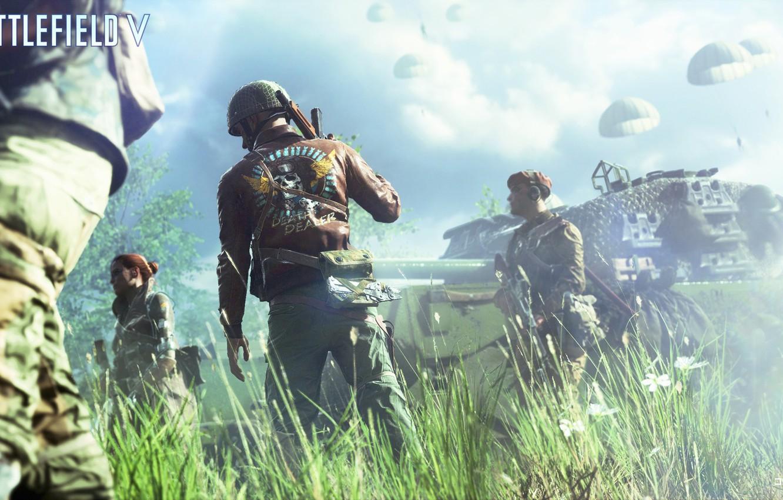 Photo wallpaper soldiers, tank, Battlefield 5, Battlefield V, pashutili