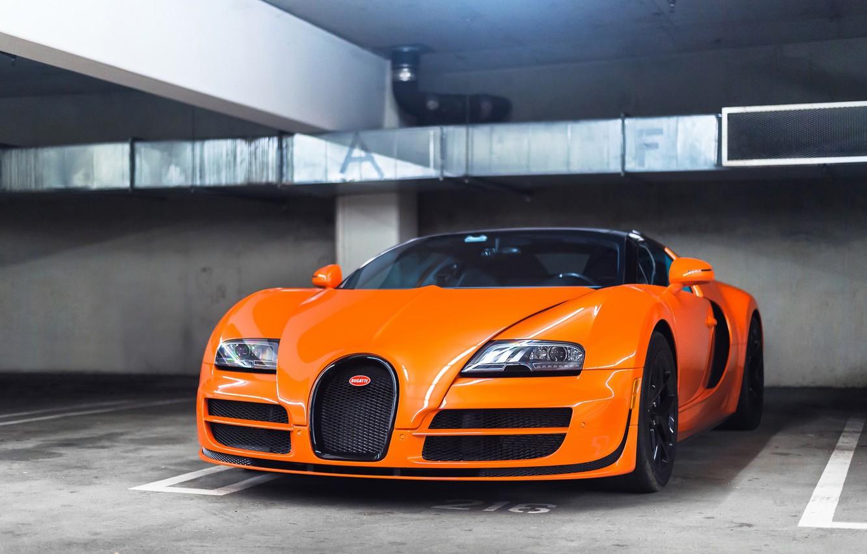 Photo wallpaper Bugatti, Grand, Veyron, Orange, Sport, Vitesse