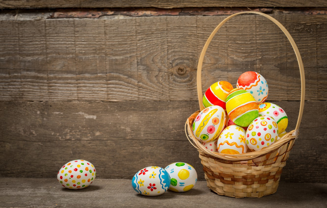 Photo wallpaper basket, colorful, Easter, happy, wood, spring, Easter, eggs, holiday, basket, the painted eggs