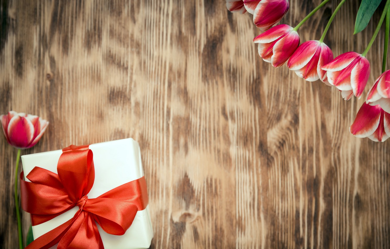 Photo wallpaper flowers, tulips, red, love, March 8, wood, romantic, tulips, gift, red tulips
