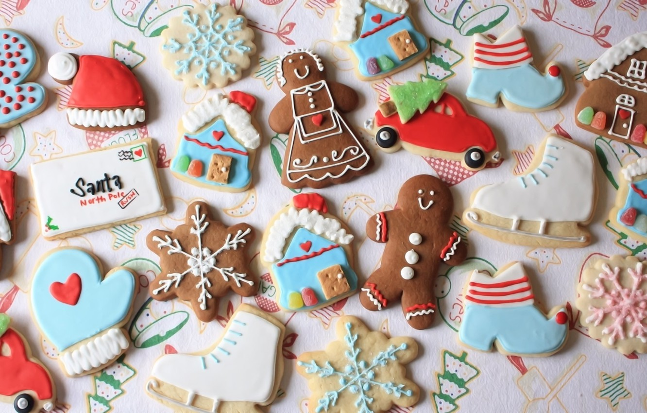 Photo wallpaper holiday, New Year, cookies, sweets, figures, cakes, treat, gingerbread, colored glaze