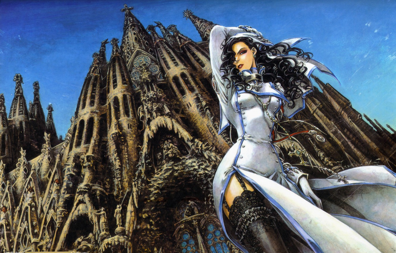 Photo wallpaper cross, the cut, Cathedral, trinity blood, curls, nun, Barcelona, blue sky, black stockings, curly hair, …