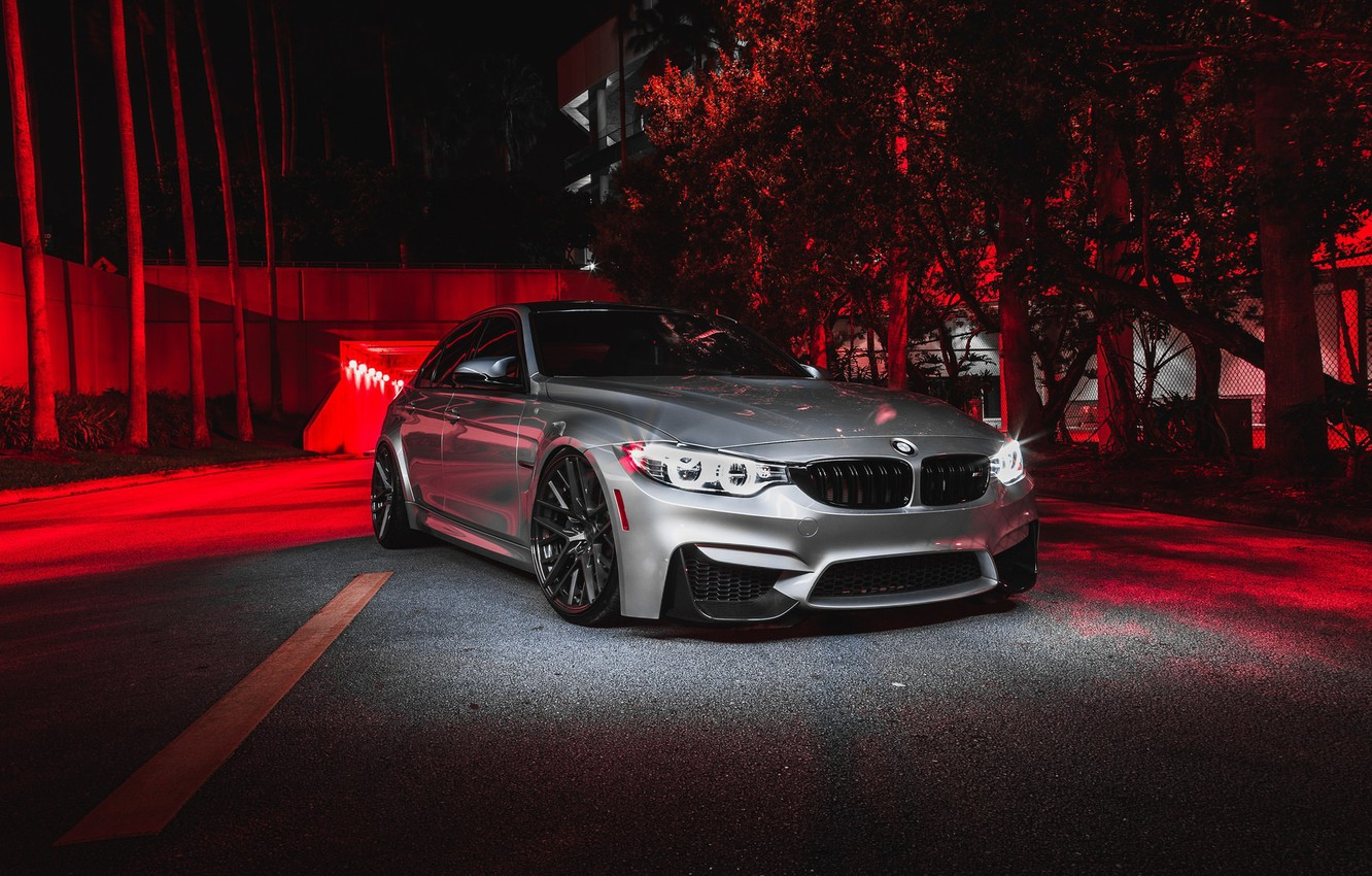 Photo wallpaper BMW, Predator, Helloween, RED, Silver, F80, Sight, LED