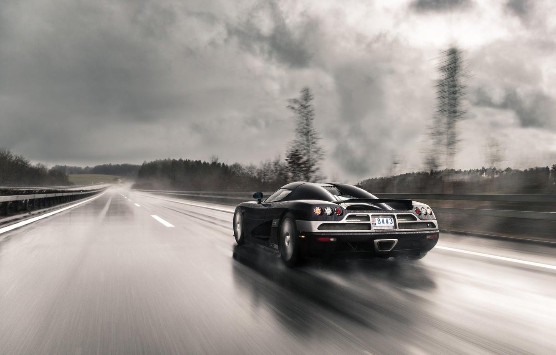 Photo wallpaper road, rain, speed, Koenigsegg, supercar, supercar, CCXR
