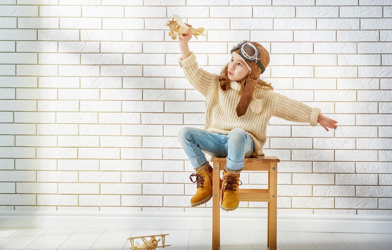 Photo wallpaper Aircraft, Glasses, Wall, Girl, Mood, Sweater, Shoes