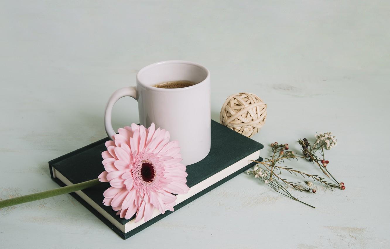Photo wallpaper Flower, Book, Gerbera, Tea