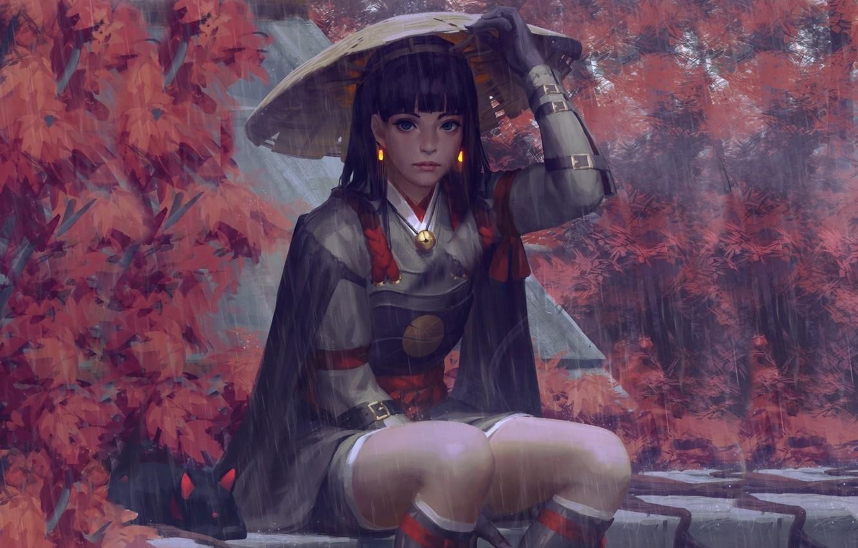 Wallpaper Rain Hat Armor Japan Art Guweiz Woman Warrior Autumn Trees Images For Desktop Section Fantastika Download