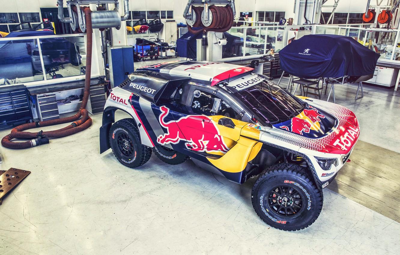 Photo wallpaper Auto, Machine, Workshop, Speed, Peugeot, Garage, Red Bull, Rally, Dakar, SUV, Rally, Sport, DKR, 3008, …