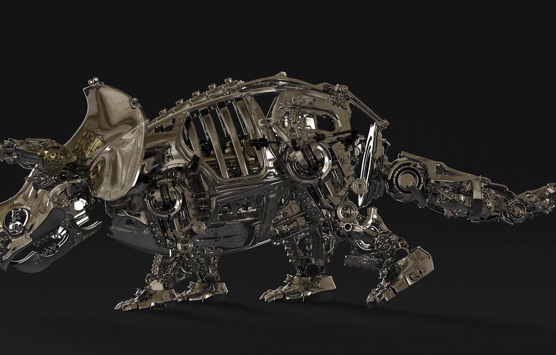 Photo wallpaper metal, design, details, Triceratops, Triceratops
