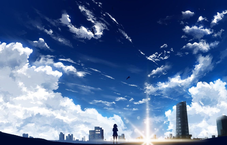 Wallpaper the sky, girl, the sun, birds