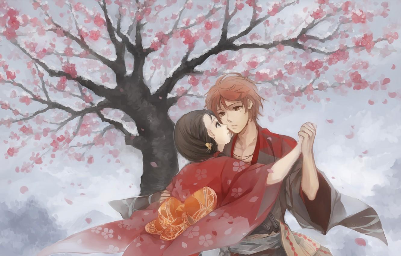 Photo wallpaper romance, art, pair, two, Hanasaku Manimani