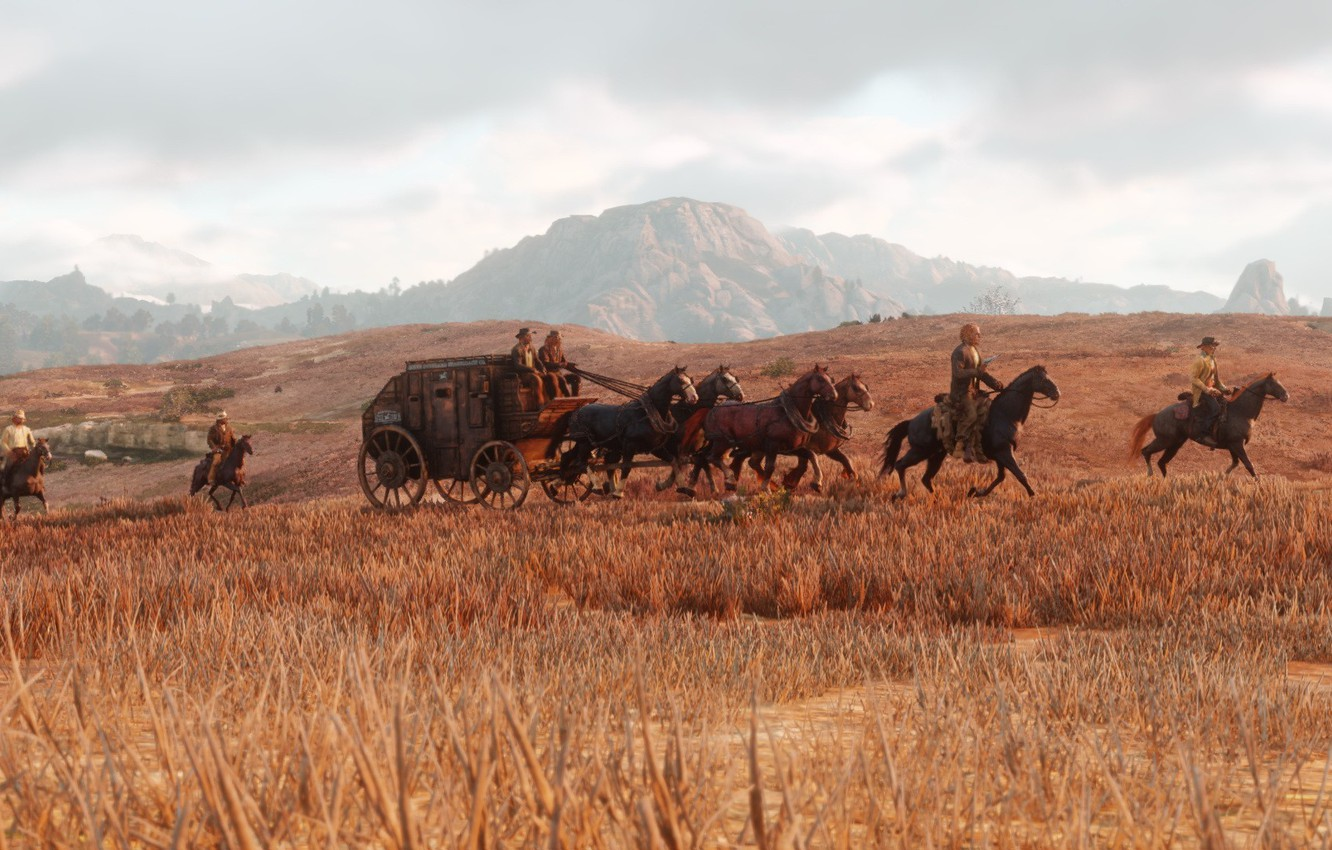 Photo wallpaper horse, art, coach, the convoy, Red Dead Redemption 2, wild West