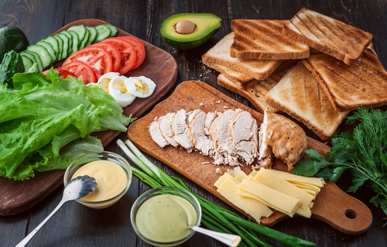 Photo wallpaper greens, chicken, cheese, bread, meat, vegetables, sauce, sandwich, eggs, toast, avocado, sandwiches, tomato, sandwich, chicken, …