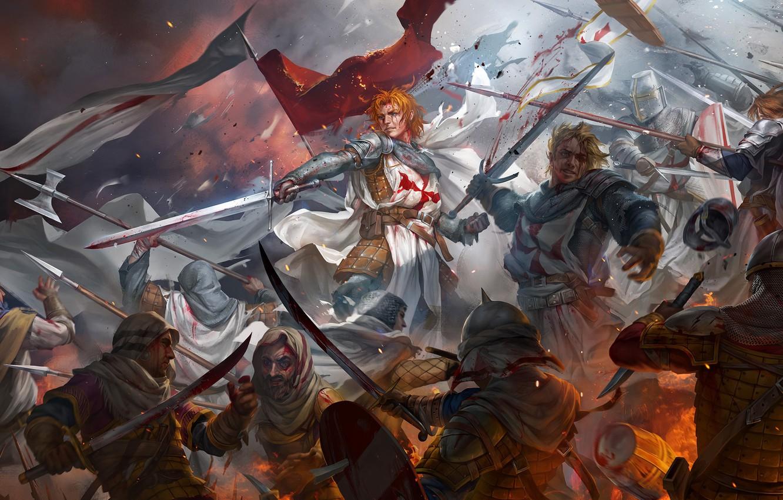 Photo wallpaper blood, battle, swords, warriors, art, crusaders, saracens