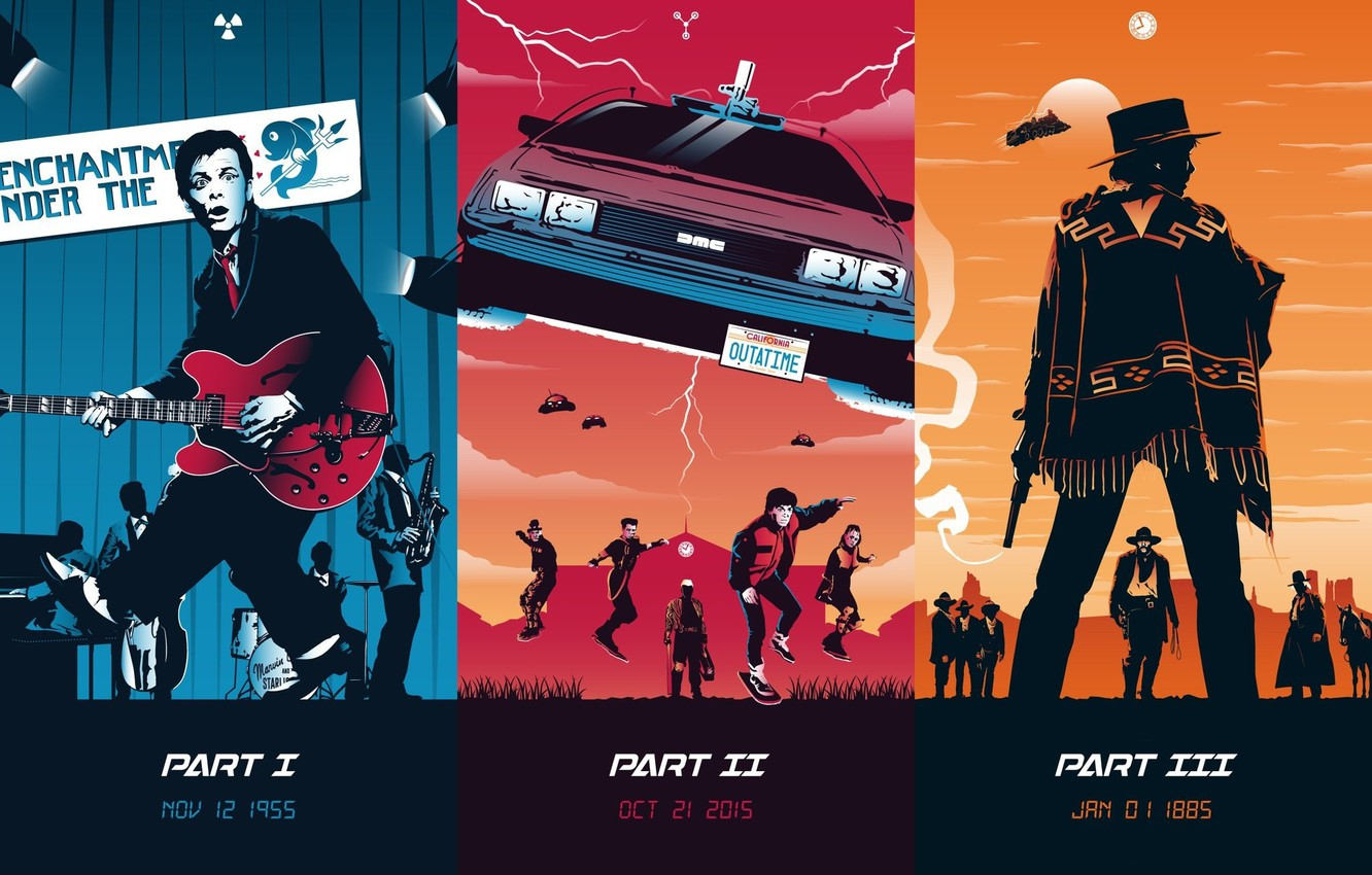 Wallpaper Fiction Collage Poster Art Characters Delorean