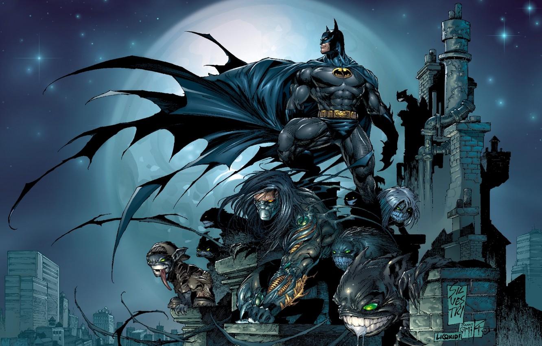 Photo wallpaper city, fantasy, Batman, comics, artwork, mask, superhero, costume, fantasy art, DC Comics, cloak, Bruce Wayne, …