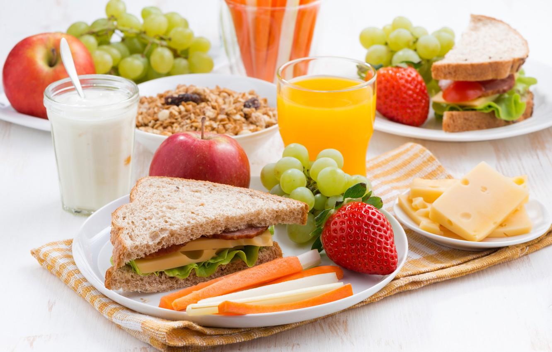 Photo wallpaper apples, Breakfast, cheese, strawberry, juice, bread, grapes, sandwich, ham