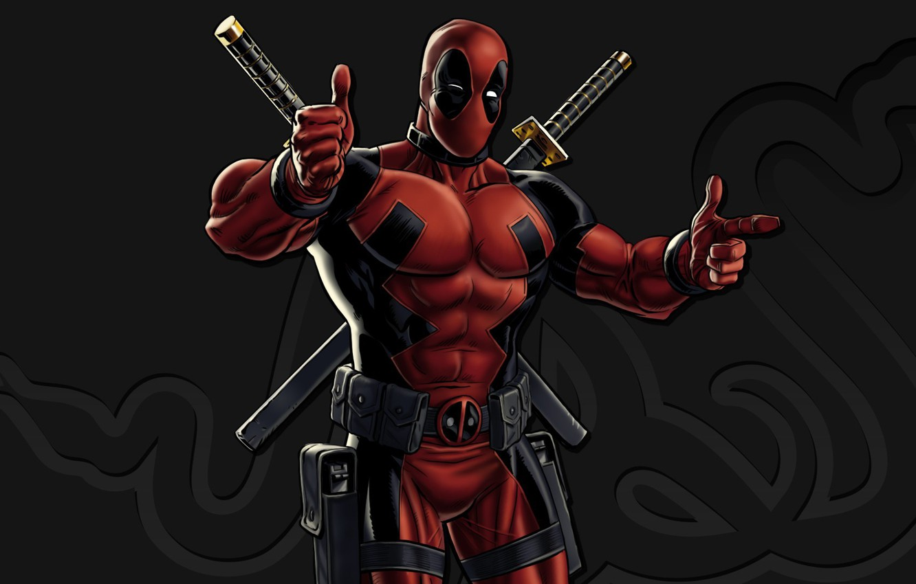Photo wallpaper red, sword, gun, pistol, logo, weapon, katana, man, Deadpool, Marvel, ken, blade, Marvel Comics, mask, …