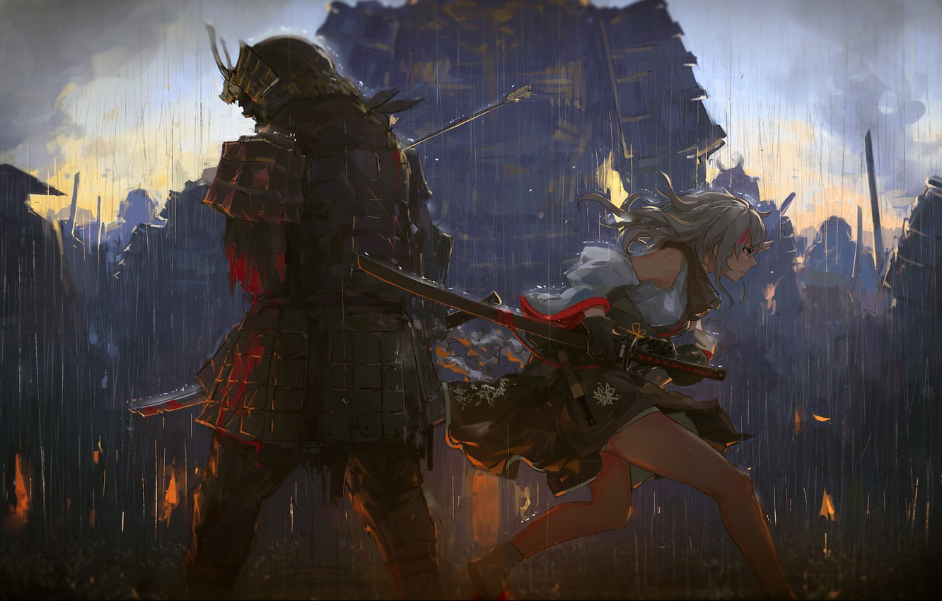 Wallpaper Girl Blood Fantasy Rain Armor Katana Weapons
