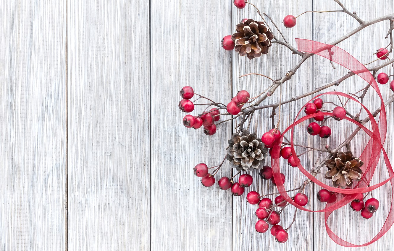 Photo wallpaper branches, berries, New Year, Christmas, bumps, wood, merry christmas, decoration, xmas