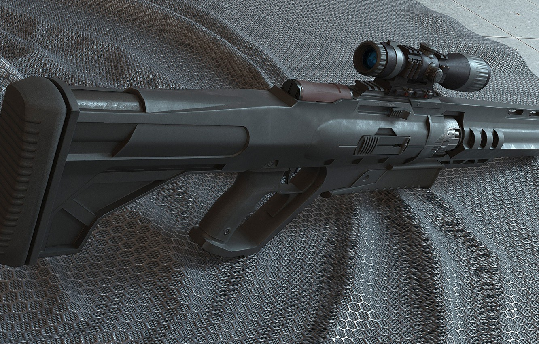 Photo wallpaper weapons, sight, rifle, weapon, sci-fi, rendering, rifle, scope, futuristic, futuristic