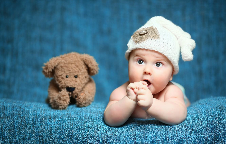 Photo wallpaper look, child, bear, Baby, bear, baby, teddy, Cute