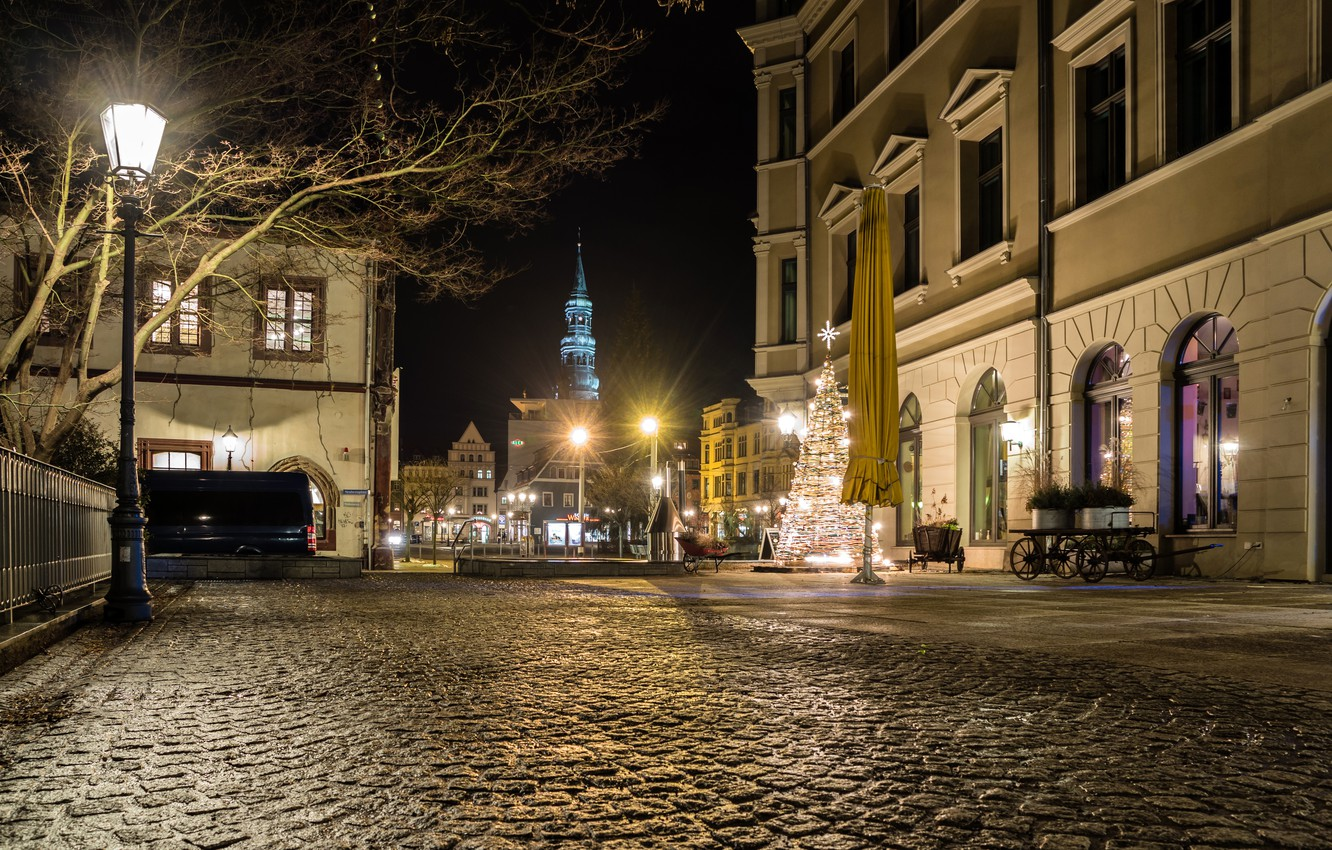 Wallpaper Home, Night, Germany, New Year, Street, Lights, Zwickau