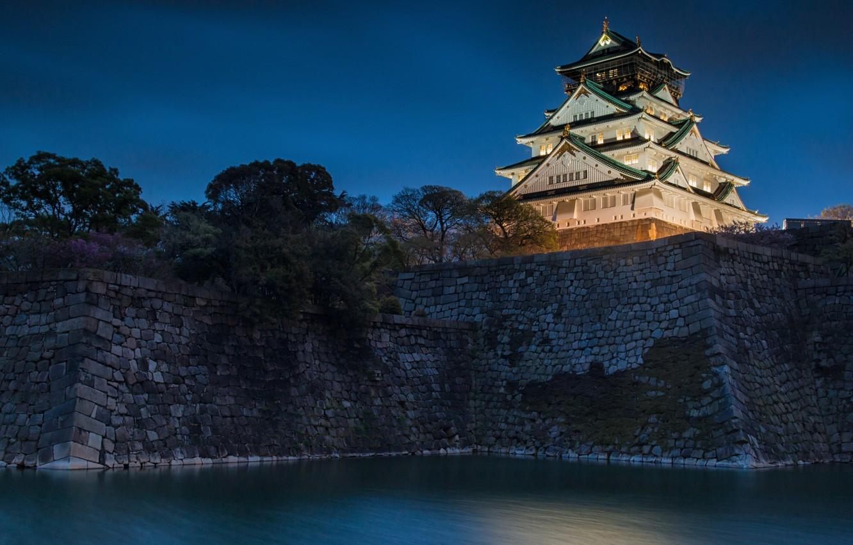 Photo wallpaper water, night, castle, Japan, Japan, Osaka, Osaka, ditch, mound, Osaka Castle