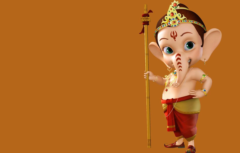 Photo wallpaper background, child, elephant, Ganesh