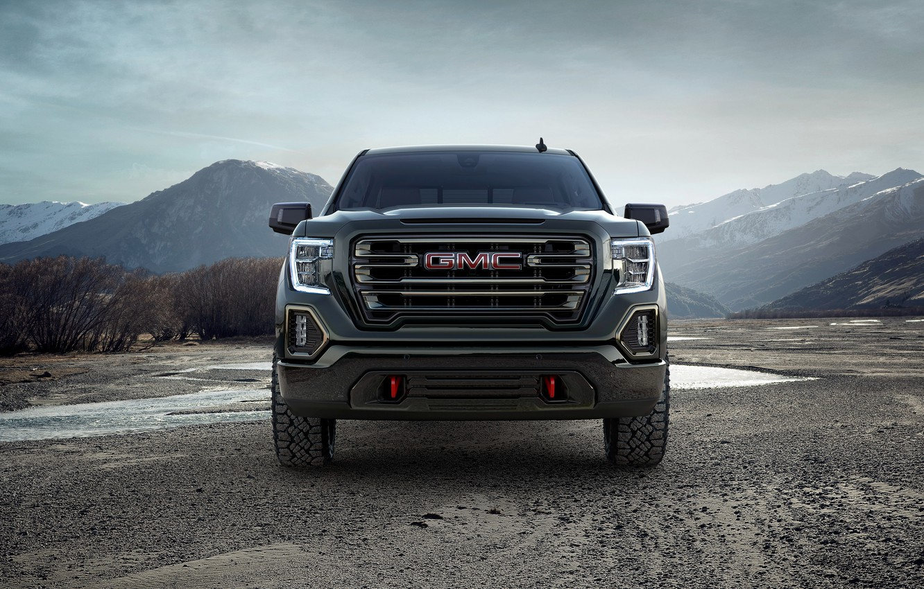Photo wallpaper front view, pickup, GMC, Sierra, Crew Cab, AT4, 2019