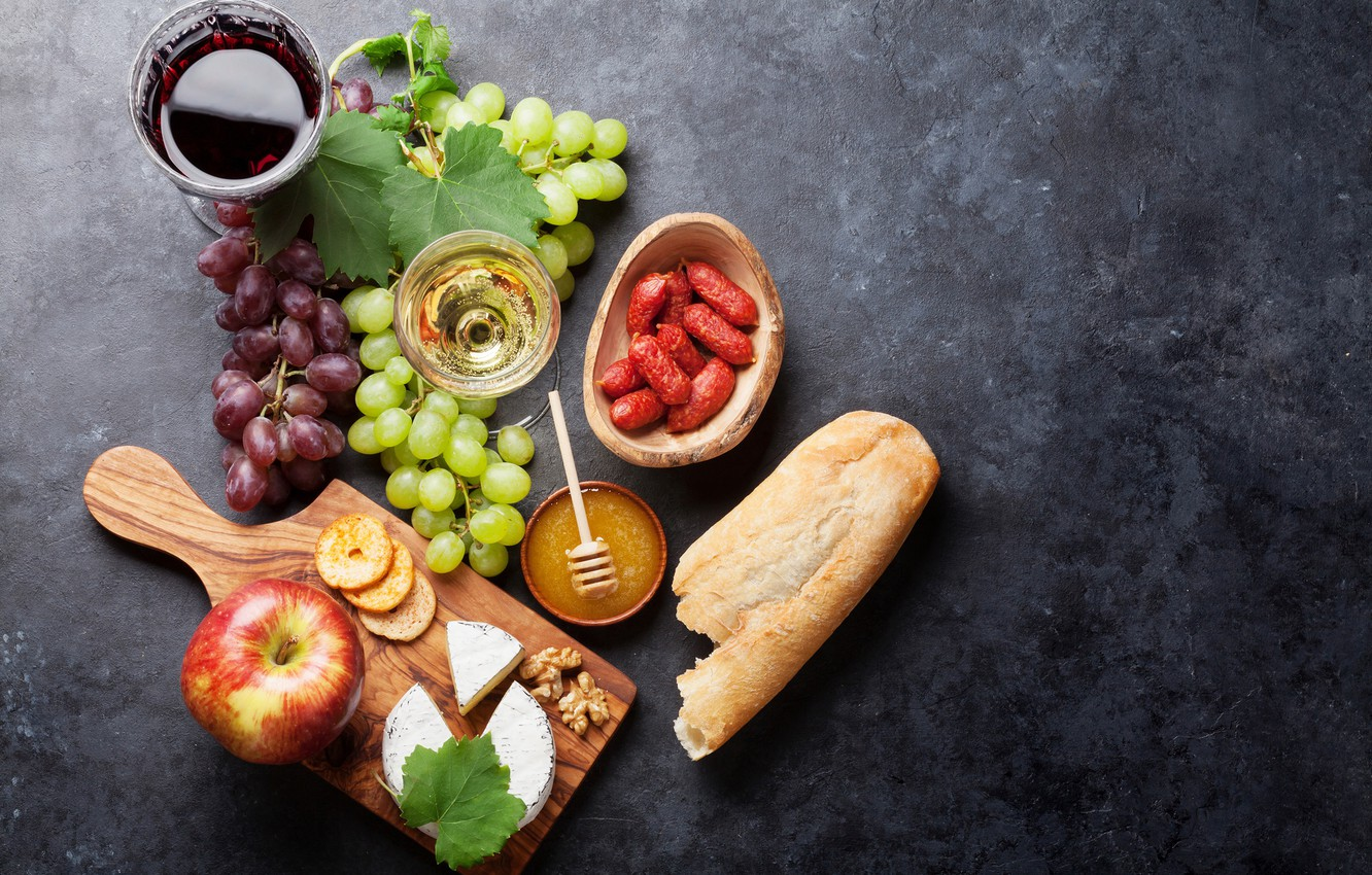 Photo wallpaper wine, Apple, cheese, bread, grapes, sausage