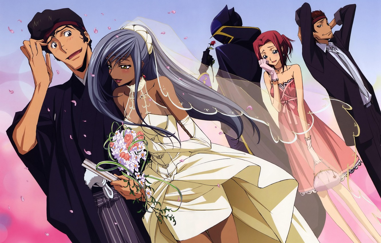 Photo wallpaper bouquet, neckline, gloves, blush, the bride, veil, art, wedding, code geass, the groom, kallen stadtfeld, …