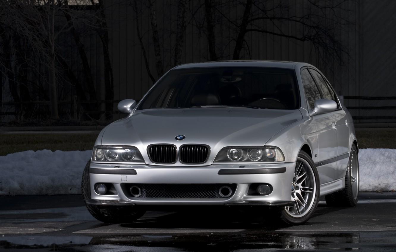 Photo wallpaper BMW, Carbon, Snow, E39, Silver, Asphalt