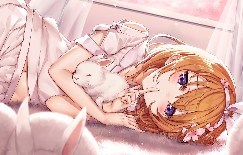 Photo wallpaper rabbit, girl, gesture, quiet