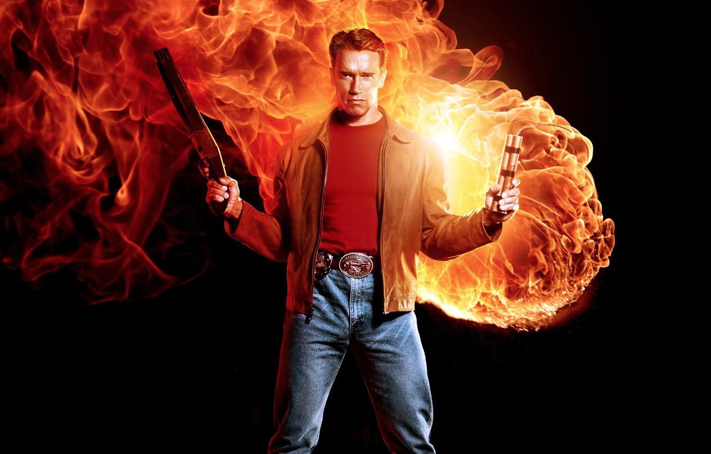 Photo wallpaper fire, flame, man, hero, shotgun, 1993, shield, cigar, Arnold Schwarzenegger, strong, yuusha, spark, TNT, dynamite, …