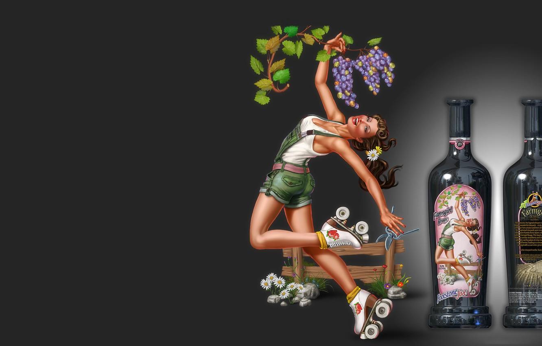 Photo wallpaper girl, wine, bottle