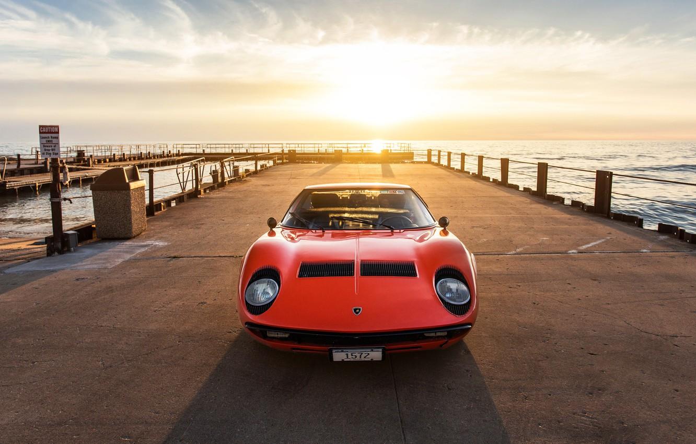 Photo wallpaper Sunset, The sun, Color, Sea, Auto, Lamborghini, Machine, Pierce, Classic, 1971, Lights, Car, Supercar, Lamborghini …