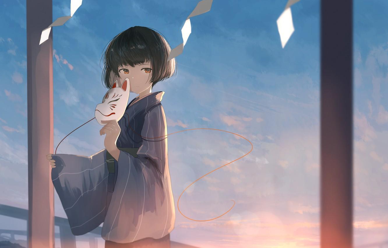 Photo wallpaper look, anime, mask, girl, mfua. RU