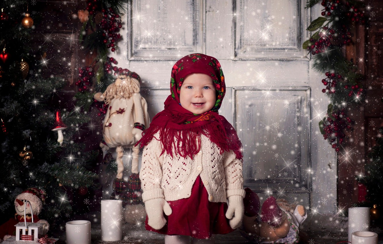 Photo wallpaper holiday, toys, new year, Christmas, candles, the door, girl, tree, child